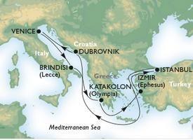 Venetia - Brindisi - Katakolon - Izmir - Istanbul - Dubvrovnik - Venetia
