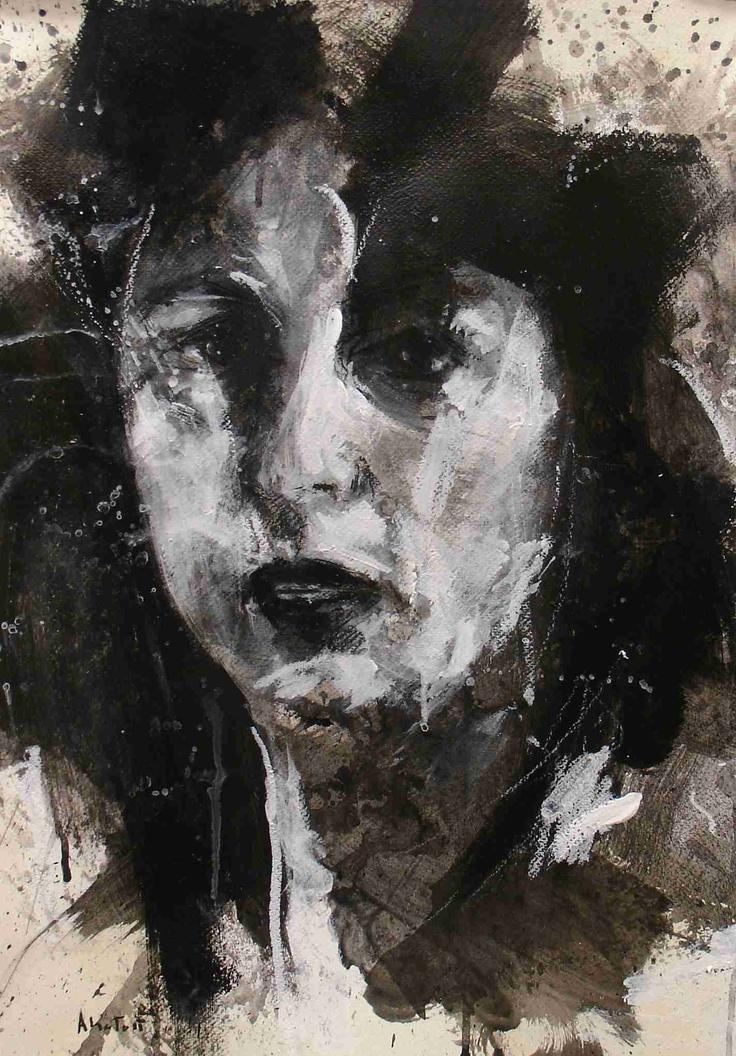 """Anna Magnani, 2011, tecnica mista su carta, 50,5 x 35,6 dai disegni per la presentazione del libro """"Diego per te"""" di Diego Dalla Palma, Teatro Filodrammatici, Milano"""