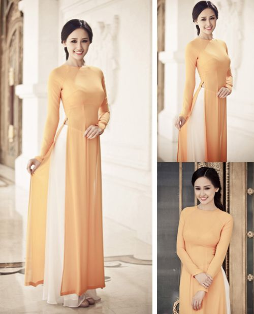 Gold Modern Ao Dai MG238