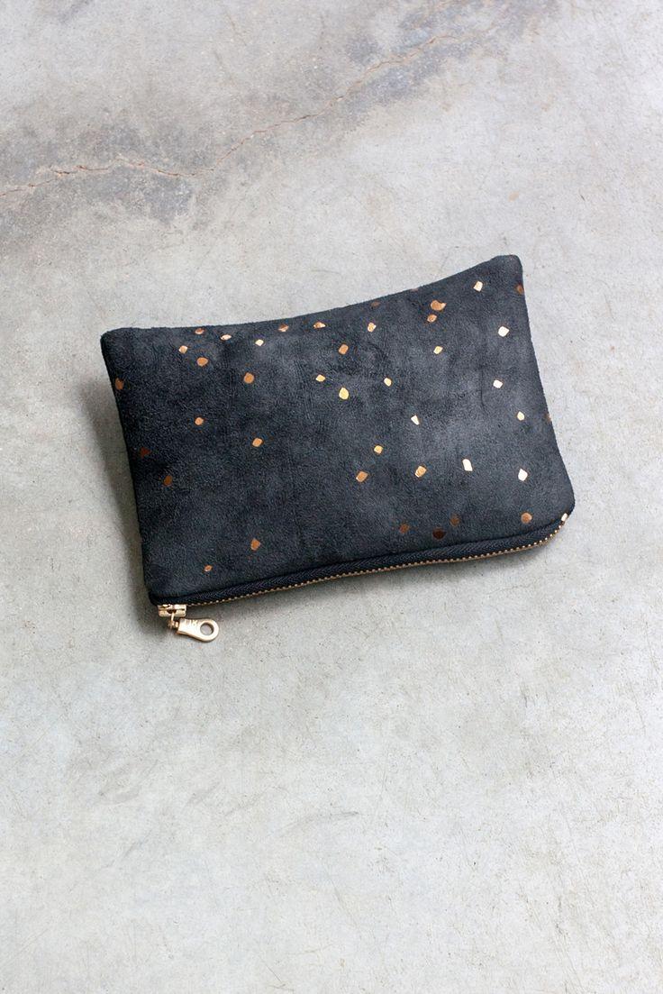 Black Confetti Portofino Pouch Small makeup bag