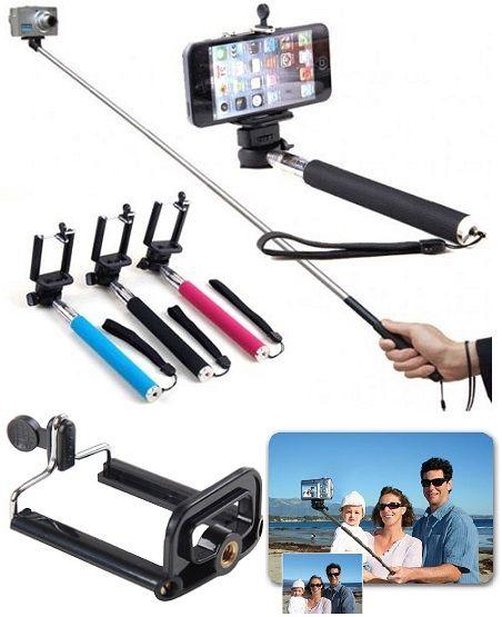 Monopod selfie fotók, videók készítéséhez. Használható fényképezőgéphez a szabványos csatlakozóval, illetve a rugós befogó kiegészítővel telefonokhoz....