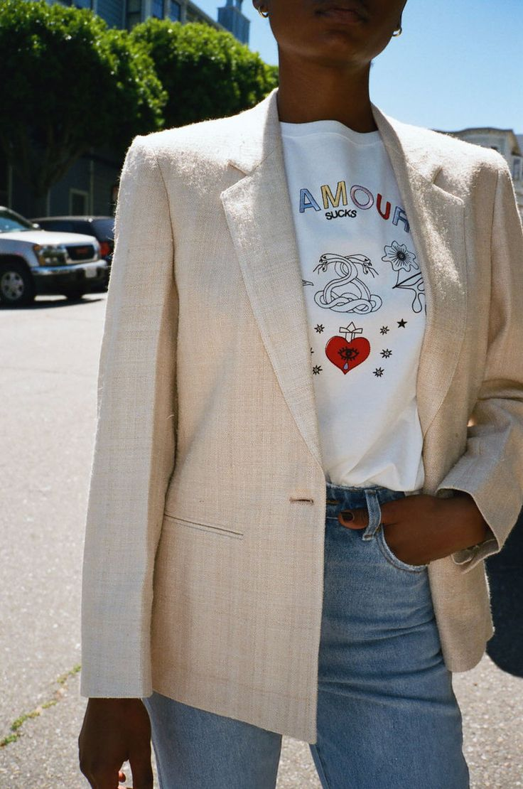 VINTAGE | Linen Blazer - Cream (M)