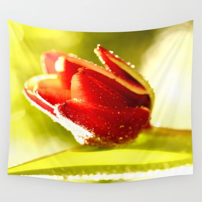 Glowing Red Tulip  Wall Tapestry