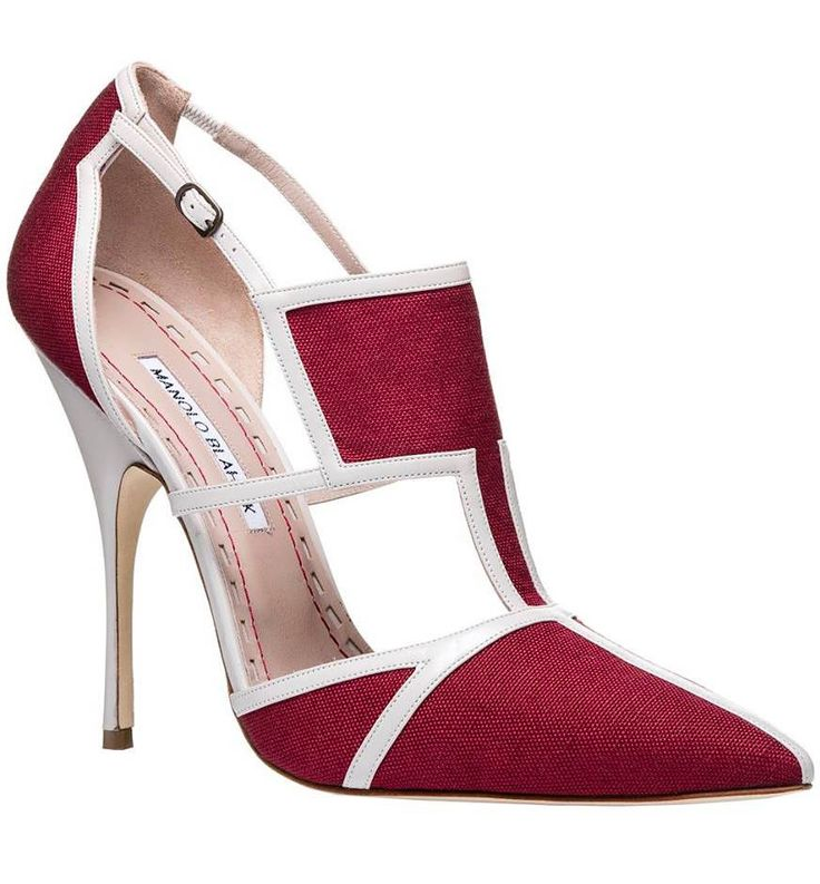 Manolo Blahnik Spring 2016 uber chic leather & fabric pump.