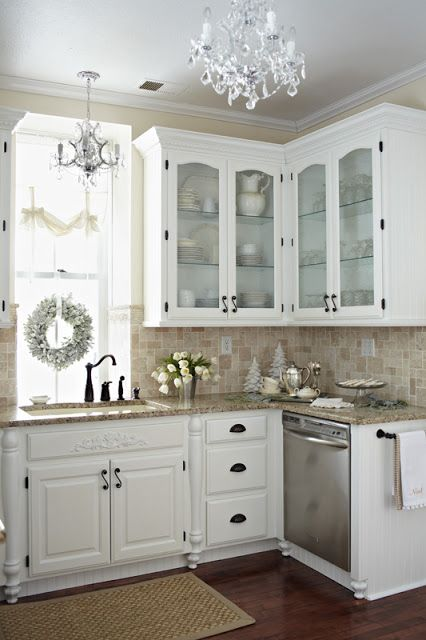 love prettiness kitchen details glass fronted cabinet doors faucet chandelier shabby chic high gloss white lacquer cabinets frosted cabine