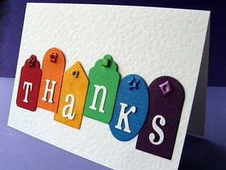 "Colorful ""thank you"" card."