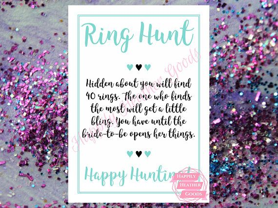 TITLE: ring hunt DESCRIPTION: printable game for a bridal shower in robin egg blue with a cursive font; one game per page; this template is also perfect for teal bridal shower games and turquoise bridal shower games  Your download will contain the following: >> 5x7 (JPG) - one