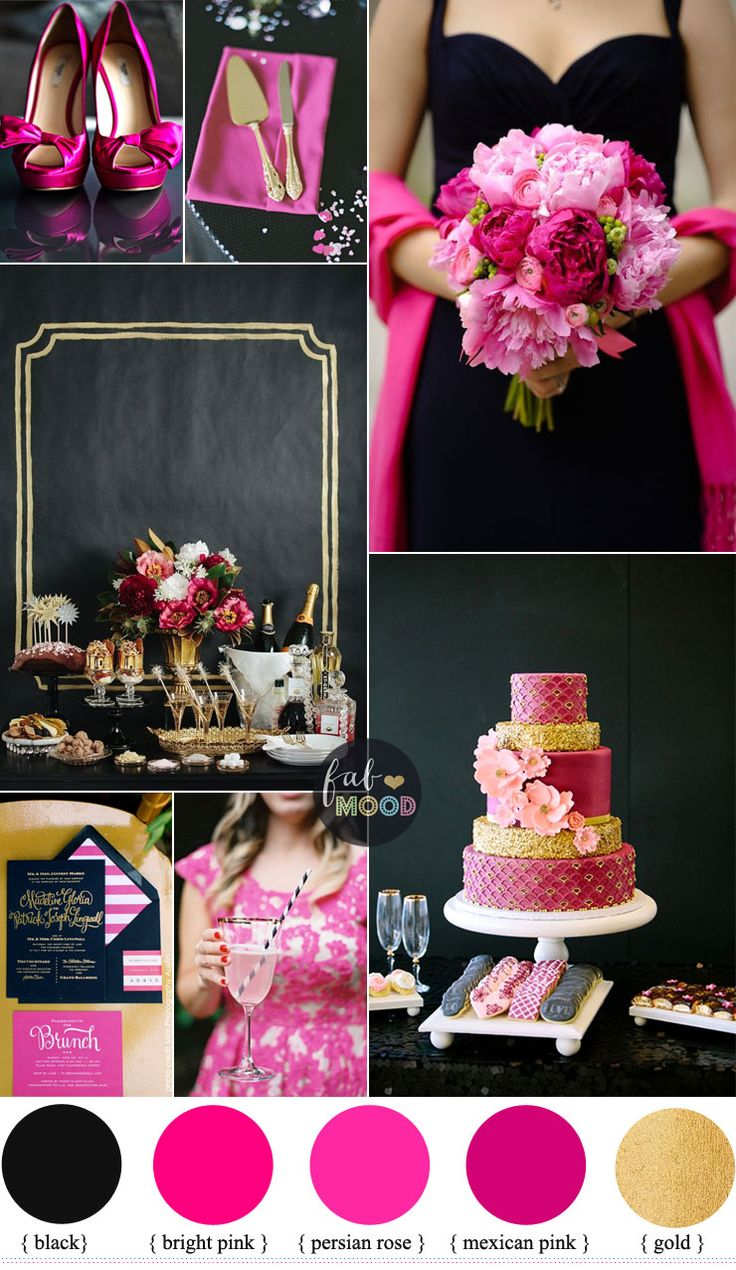 Black and hot pink wedding colour theme { bright pink + persian rose + Mexican pink + gold } Fab Mood