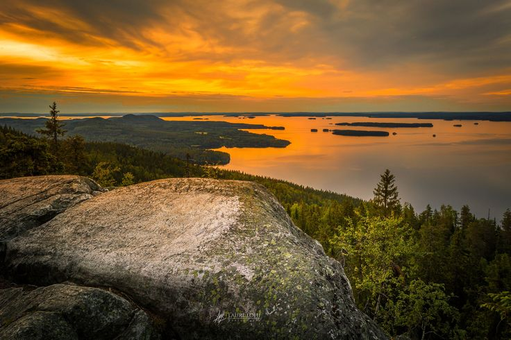 """Sunset at the top of the Koli fell. Koli National park, Eastern Finland.   <p><a href=""""www.facebook.com/laurilohiphoto"""">Follow me on Facebook</a></p>"""