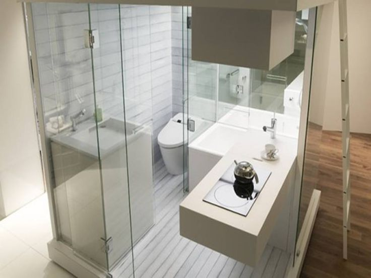 sleek narrow bathroom design with brilliant shower cubicle and dark wood floor also ladder ideas