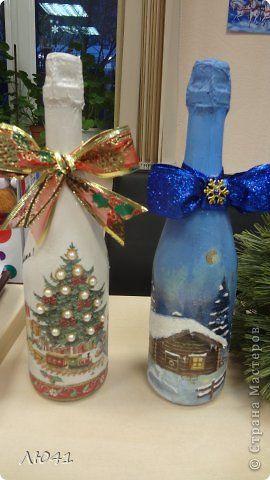 Декор предметов Новый год Декупаж Кракелюр Отчет небольшой Бутылки стеклянные…
