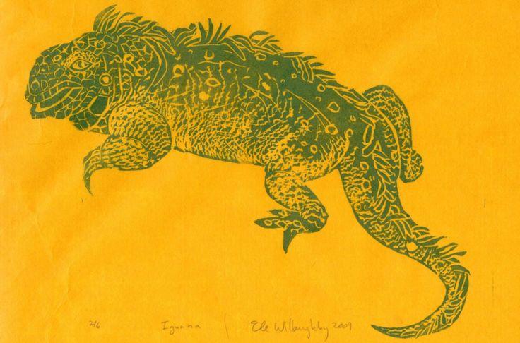 Iguana - linocut print 2009 - Ele Willoughby, Canada