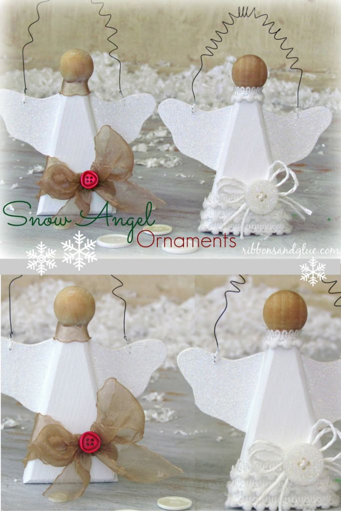 DIY Snow Angel Ornaments.  Easy Christmas Craft made from natural wood angle painted with glitter paint and embellished with buttons and  pretty ribbon.