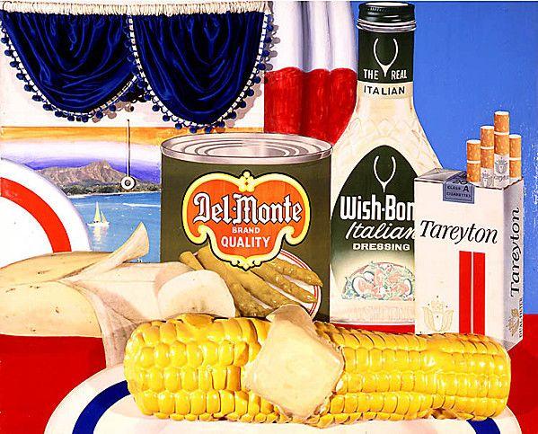 Tom Wesselman « Still life » (nature morte) n°35, 1963 acrylique sur toile, 122x152cm / « Still life » MAÏS, n°24,  1962 peinture acrylique, objet en polymère 122.0 x 152.1 cm.