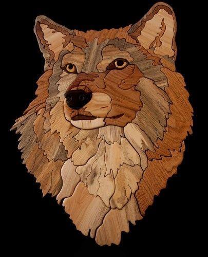 Gray Alpha Male Wolf Intarsia. MountainMagicStudios.artfire.com