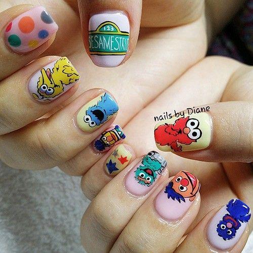 ••☆Sesame Street☆•• http://decoraciondeunas.com.mx #moda, #fashion, #nails, #like, #uñas, #trend, #style, #nice, #chic, #girls, #nailart, #inspiration, #art, #pretty, #cute, uñas decoradas, estilos de uñas, uñas de gel, uñas postizas, #gelish, #barniz, esmalte para uñas, modelos de uñas, uñas decoradas, decoracion de uñas, uñas pintadas, barniz para uñas, manicure, #glitter, gel nails, fashion nails, beautiful nails, #stylish, nail styles