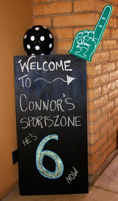 sports party ( I think I will make it look like a score board for jaren's party.)