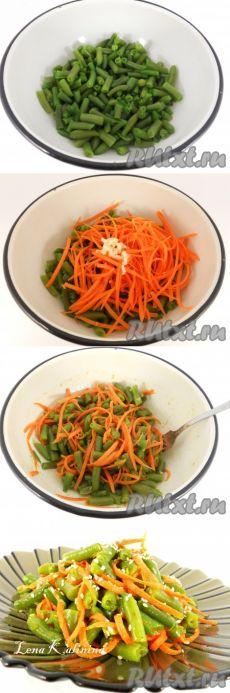 Стручковая фасоль по-корейски   =фасоль зеленая стручковая (свежемороженая или свежая) - 250 г;  морковь (небольшая) - 1 шт.;  чеснок - 2 зубчика;  соль - по вкусу;  сахар - 1 ч. л.;  уксус 9% - 1,5 ч. л.;  масло растительное рафинированное - 15 г;  кориандр - 0,5 ч. л.;  перец черный и красный молотый - по 0,5 ч. л.;  кунжут для украшения.