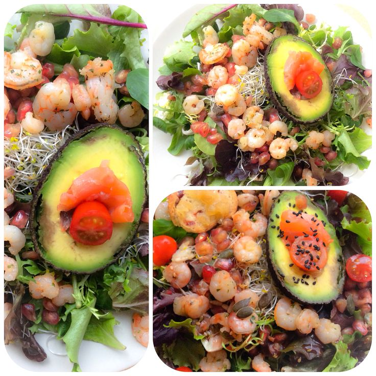C O M E S A N O | Ideas para comer sano: Ensalada de aguacate + gambitas + brotes de alfalfa + granada