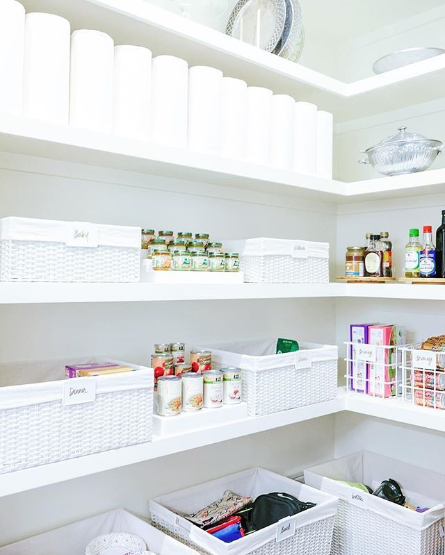 """WEBSTA @ thehomeedit - An all white pantry deserves all white bins and a row of paper towels for good measure. ✨ Products and custom labels are linked on our shop page [thehomeedit.com/shop]! Just click the image under """"shop the feed"""" - or scroll down to shop all our favorite products by category. // You can also shop via screenshot using the new @liketoknow.it app // http://liketk.it/2s5KM ✨ #thehomeedit #pantry #organization"""