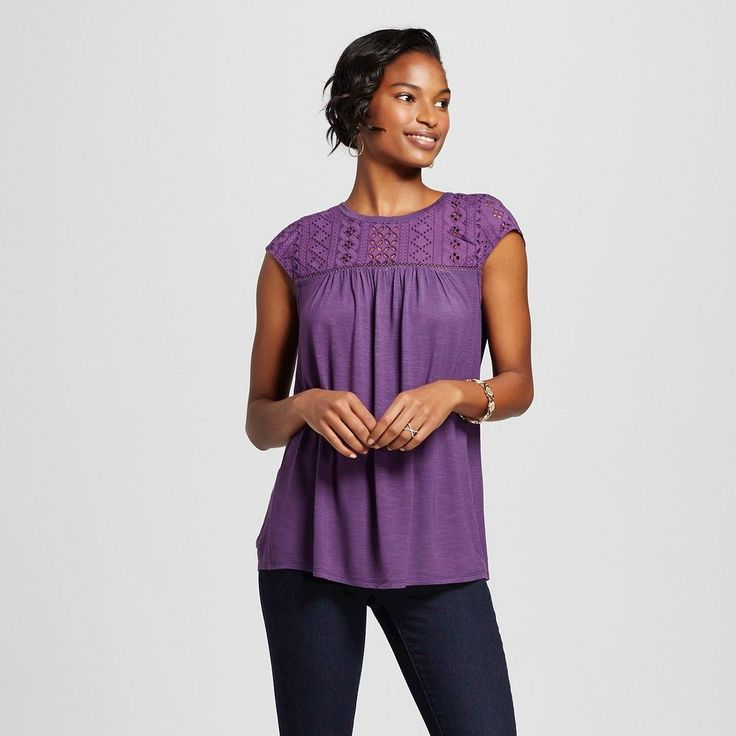 Women's Fairytale Lace Shell Top Violet (Purple) XL - Merona