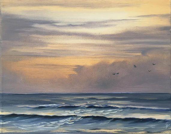 Sunrise Beach Painting Ocean Sunrise Art Coastal Landscape Surf Art Ocean Art Seascape Original Oil Painti Ocean Painting Sunrise Painting Beach Painting