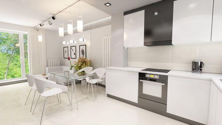 Projekt salonu z aneksem kuchennym. Elegancki i nowoczesny design.