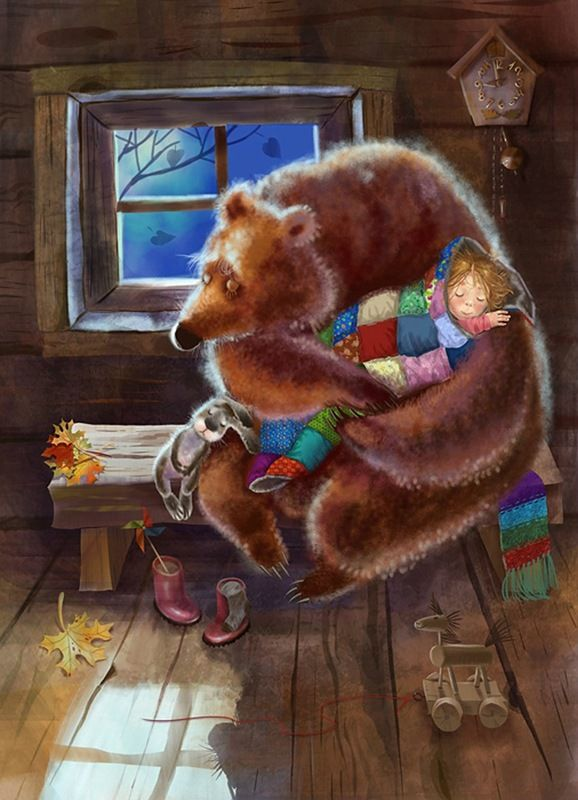 Девочка и медведь открытка
