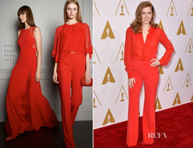 Amy Adams In Elie Saab - 86th Academy Awards Nominees Luncheon