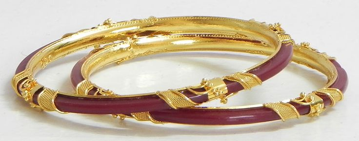 Gold Plated Red Bangles (Acrylic and Metal))