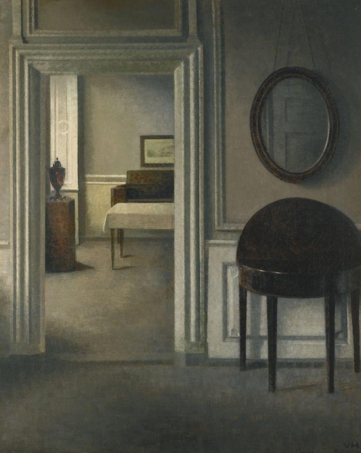 Vilhelm Hammershøi - Interior with a mirror (ca.1907).jpg