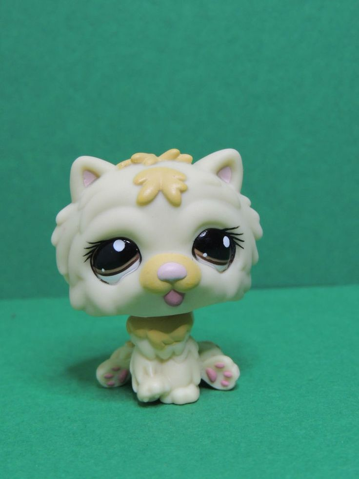 #1058  Chien Dog cream Chow Chow purple eyes LPS Littlest Pet Shop Figurine