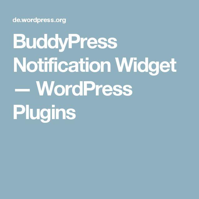BuddyPress Notification Widget — WordPress Plugins