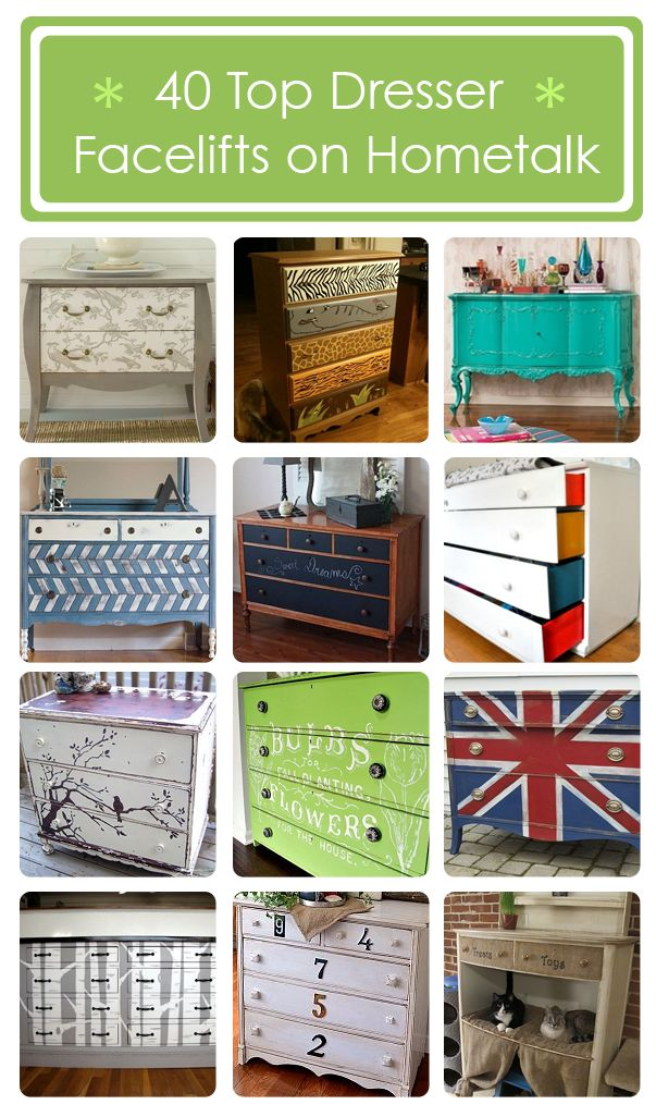 Top 40  dresser facelifts on Hometalk! ---> http://www.hometalk.com/b/141303/dresser-divas Curated by @Donna - Funky Junk Interiors featuring @Alexis R Taylor is Beauty @Cathie Greer Vintage @Holly Hanshew @Dawn Glass Chicks Rule @Brittany Horton (aka Pretty Handy Girl) @Michael Dussert Wurm, Jr. {inspiredbycharm.com} @Noemí Ranch @GadgetSponge .com .com