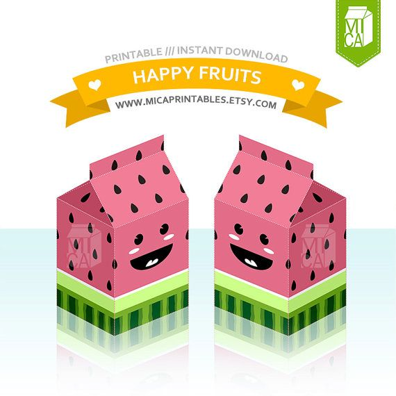 Happy Fruits Printable Party Favor Treat Gift by MicaPrintables #watermelon #pink #fruit #box