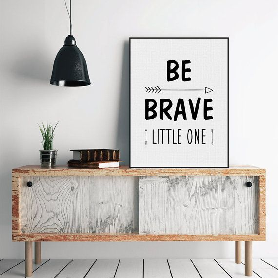 Freeshipping Nordic Minimalist Motivational Typography Brave Quotes A4 Art Print Poster Nursery Wall Art Canvas Painting Boy Kids Room Decor by PicSaying