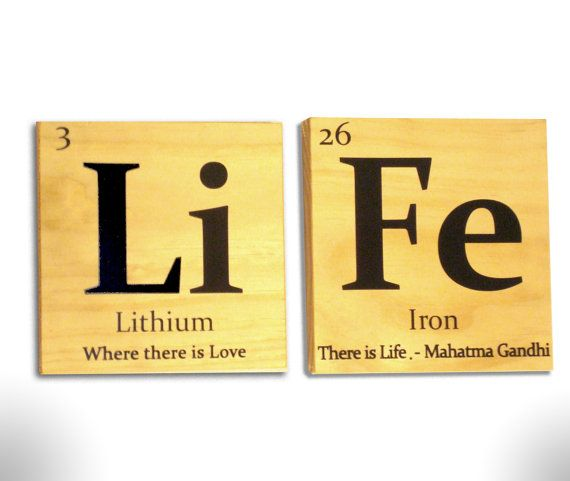 Periodic table of elements Life wooden tile wall art- with Gandhi quote