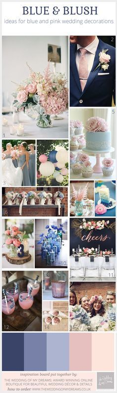 blue and blush pink wedding decorations inspiration board