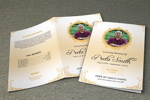 Funeral Program Template-V196 by Template Shop on @creativemarket