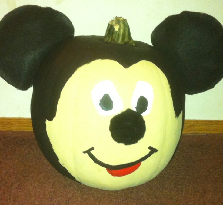 Mickey mouse pumpkin mickey mouse pinterest for How to paint a mickey mouse pumpkin