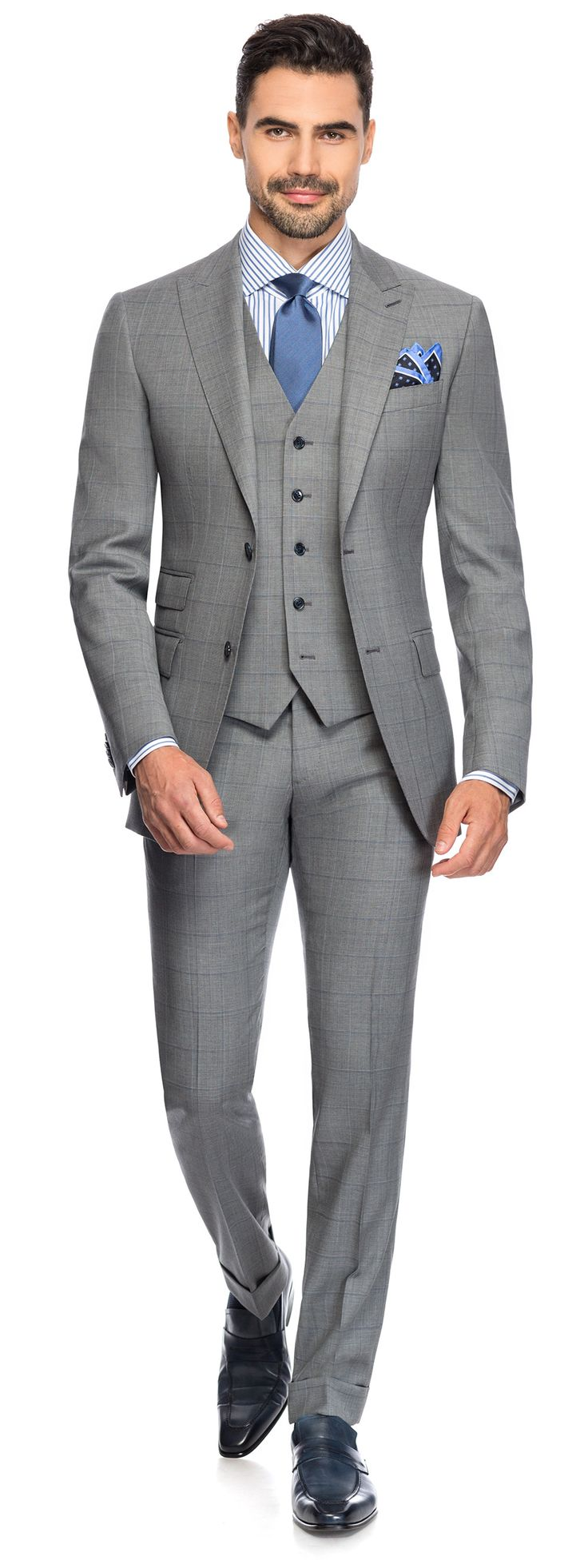 NAVY OVER CHECK SUIT