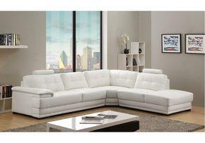 Veron White Leather Corner Sofa Right/Hand