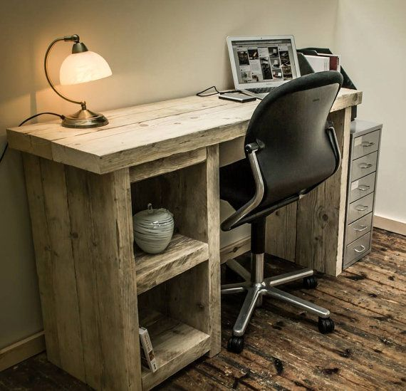 Chunky Rustic Single Pedestal Desk  Genuine by BroganAndFrench