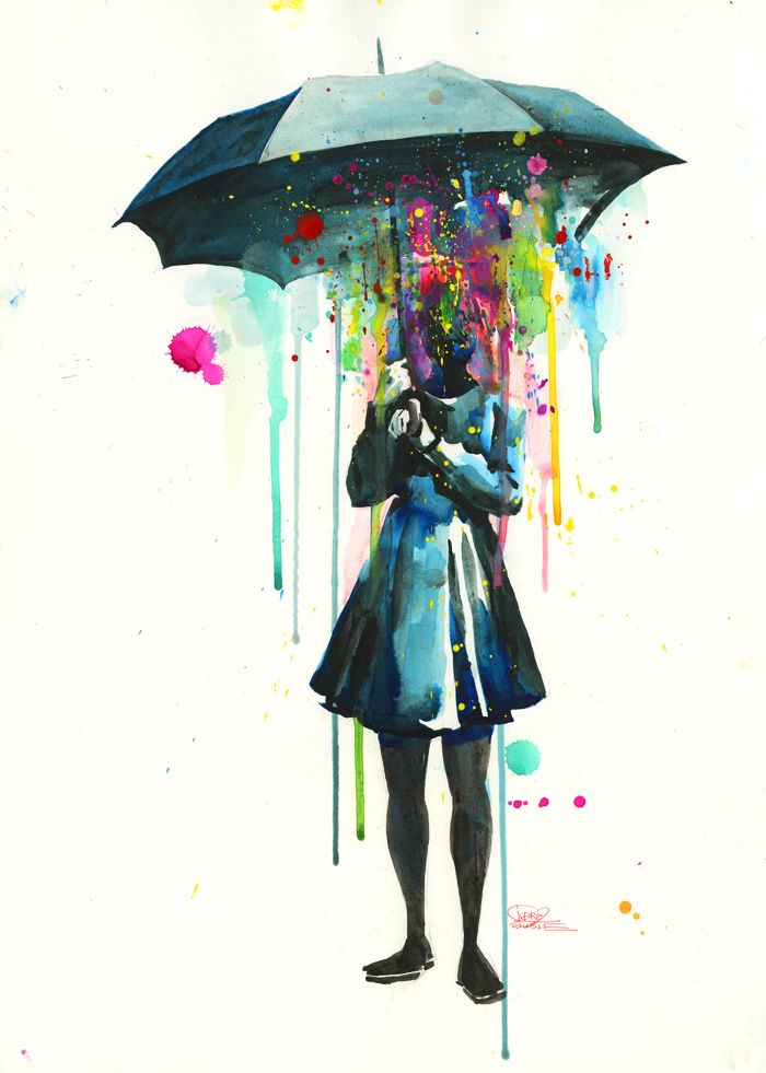Artist: Lora Zombie  Title: Rainy (print)  Size: 21 x 28  Lora Zombie is a self-taught painter from Russia and a top seller on the urban art scene. With a unique commentary on pop culture and keen eye for beauty, her raw and grungy trademark style is unmistakable. Only in her early twenties, ...