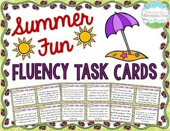 Summer End of Year Fluency Task Cards { Oral Fluency Reading fluency } Keep your students practicing their fluency until the very last day of school!$