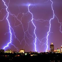 Lightning captured over Sandton City, Johannesburg, South Africa.