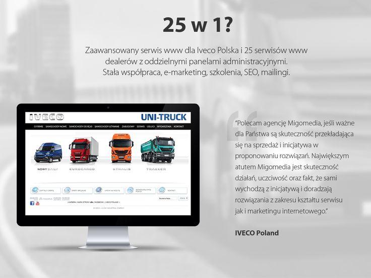 Zaawansowany serwis www dla #Iveco Polska i 25 serwisów www dealerów z oddzielnymi panelami administracyjnymi. Stała współpraca, #e-marketing, #szkolenia, #SEO, #mailingi. #migomedia #serwiswww #serwis_www