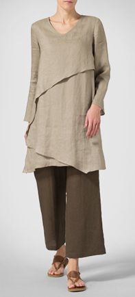 Linen Layering V-neck Tunic in Khaki Brown