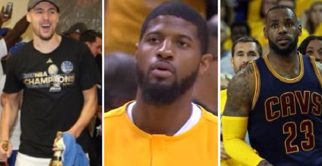 Report: Paul George Has Reached Out To Klay Thompson And LeBron James About Forming New Super Team In L.A. - http://viralfeels.com/report-paul-george-has-reached-out-to-klay-thompson-and-lebron-james-about-forming-new-super-team-in-l-a/