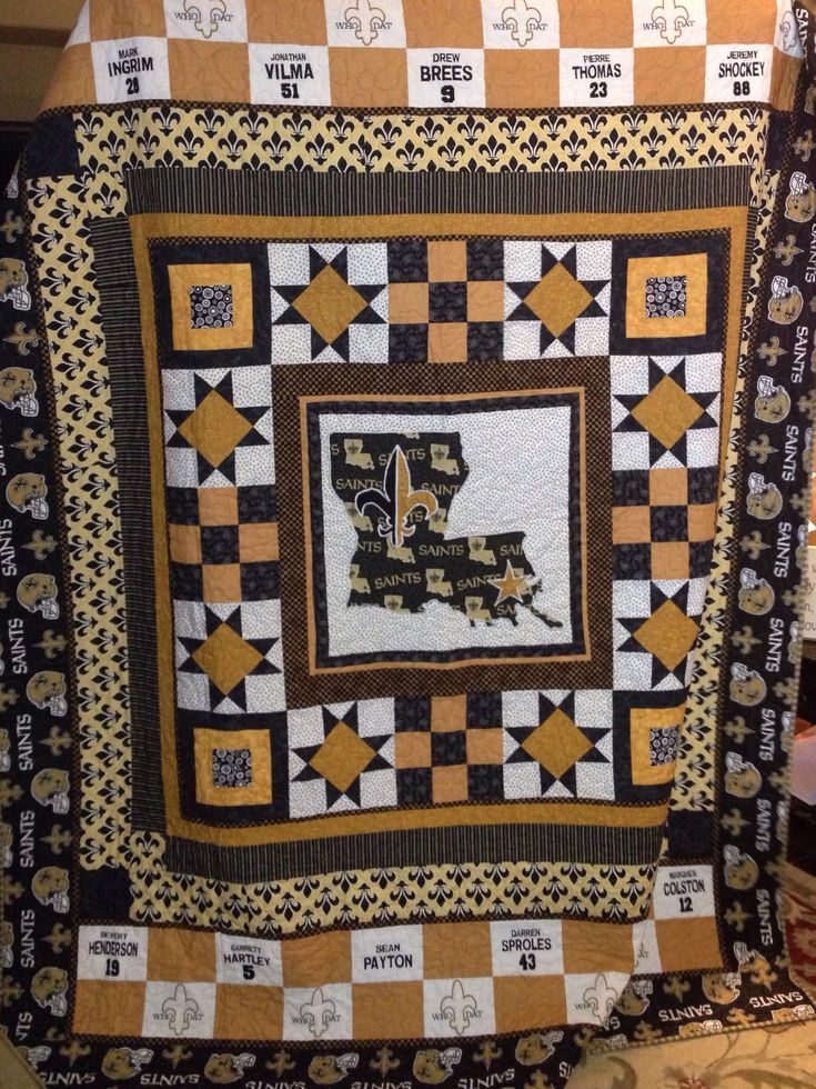 New Orleans Saints Quilt For Hubby.